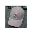 Hip-hop Embroidery Floral Pattern Outdoor Baseball Corduroy Cap