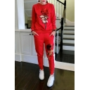 New Fashion Round Neck Long Sleeve Floral Printed Sequined Sweatshirt Sports Pants Co-ords