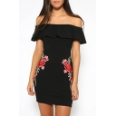 Floral Embroidered Off the Shoulder Ruffle Hem Mini Bodycon Dress