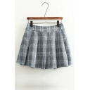 Fashion Elastic Waist Plaid Color Block Mini Skater Skirt