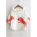 Cute Cartoon Fox Printed Half Sleeve Hoodie Sweatshirt