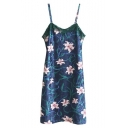 Women's Spaghetti Straps Floral Printed Lace Patchwork Midi Shift Cami Dress