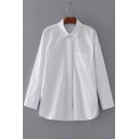 Basic Simple Lapel Collar Long Sleeve Letter Embroidered Pocket Buttons Down Plain Shirt