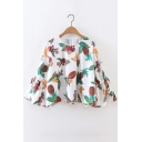 Round Neck Long Sleeve Bell Sleeve Key Hole Back Fruits Printed Pullover Blouse