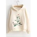 New Design Letter Floral Embroidered Long Sleeve Cotton Casual Hoodie