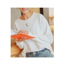 Embroidery Rose Flower Batwing Long Sleeve Round Neck T-Shirt