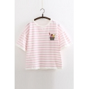 New Arrival Round Neck Bell Sleeve Striped Printed Embroidered Loose T-Shirt