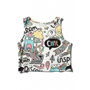 Funny Cartoon Printed Round Neck Sleeveless Basic Cropped Tank Tee