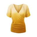 Fashion Wrap V-Neck Ruched Sides Short Sleeve Ombre Tee