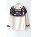 Vintage Diamond Tribal Printed Round Neck Long Sleeve Pullover Sweater