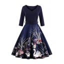 Glamorous Half Sleeve V-Neck Belt Waist Swan Floral Printed Midi Fit & Flare Dress