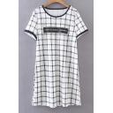 Casual Letter Printed Short Sleeve Round Neck Plain Mini T-shirt Dress