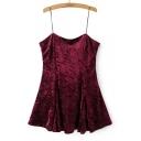 Sexy Spaghetti Straps Sleeveless Plain Velvet Mini Cami Dress