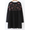 Embroidery Floral Pattern Long Sleeve Round Neck Shift Mini T-Shirt Dress