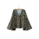 Fashion Floral Printed Color Block Lace-up V-Neck Split Bell Sleeve Casual Blouse