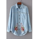 Floral Butterfly Embroidered Ripped Lapel Collar Long Sleeve Denim Shirt with Single Pocket
