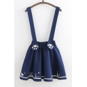 Cute Cartoon Cat Printed Elastic Waist Mini Overall Skirt