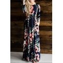 Chic Women's Long Sleeve Floral Printed Round Neck Maxi Dress