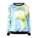 Unisex Contrast Trim 3D Printed Long Sleeve Round Neck Pullover Sweatshirt