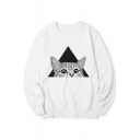 Fashion Geometric Cat Animal Printed Long Sleeve Round Neck Pullover Sweatshirt