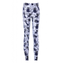 Cartoon Cat Pattern Elastic Waist Skinny Basic Leggings