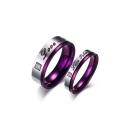 Romantic Couple Letter Pattern Rhinestone Insert Titanium Steel Ring