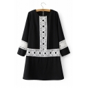 Round Neck Long Sleeve Lace Inserted Hollow Out Pullover Swing Dress