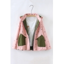 New Stylish Reversible Hooded Zipper Placket Contrast Pockets Embroidery Pattern Coat