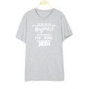 Couple Letter Printed Casual Tee With Round Neck Short Sleeve