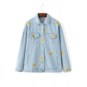 Embroidery Watermelon Single Breasted Lapel Denim Jacket Coat with Pockets