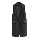 Notched Lapel Single Button Sleeveless Plain  Tunic Blazer Vest with Embellish Pockets