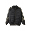 Fashion Embroidery Crane Pattern in Raglan Sleeves Zipper Placket Bomber Jacket