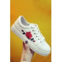 New Fashion Rose Embroidered Flat Bottomed White Sports Shoes
