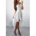 Women's Elegant Spaghetti Straps High Low Hem Asymmetric Lace Dress