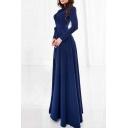 Glamorous Elegant Long Sleeve Belt Waist Zip-Back Plain Maxi Dress