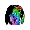 New Stylish 3D Lion Colorful Printed Long Sleeve Round Neck Pullover Sweatshirt