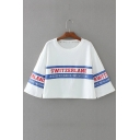 Round Neck 3/4 Sleeve Letter Striped Printed Casual Pullover Cropped Graphic Tee