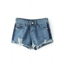 New Fashion Color Block Ripped Fringe Trim Turn Up Denim Shorts