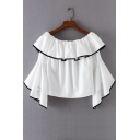 Layered Ruffle Front Flare Long Sleeve Boat Neck Cropped Blouse