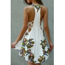 Round Neck Sleeveless Floral Printed Key Hole Back Side Hollow Out High Low Hem Mini Dress
