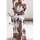 Women's Sexy Off the Shoulder Half Sleeve Split Side Floral Printed Maxi Dress