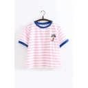 Color Block Striped Print Round Neck Short Sleeve Coconut Palm Embroidered T-Shirt