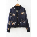 Embroidery Floral Zipper Placket Stand-Up Collar Bomber Jacket with Slant Pockets