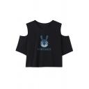 Letter Rabbit Printed Round Neck Short Sleeve Cold Shoulder Cropped T-Shirt