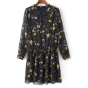 Chic Tied Neck Long Sleeve Floral Printed Mini Chiffon Dress
