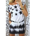 Star Printed Round Neck Short Sleeve Drawstring Waist Mini Dress