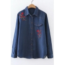 Rose Embroidered Lapel Collar Long Sleeve Denim Shirt with Single Pocket