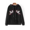 Embroidery Crane Floral Pattern Drawstring Hooded Long Sleeve Hoodie Sweatshirt with One Pocket