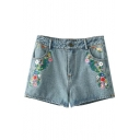 Mid Waist Floral Embroidered Single Button Denim Shorts