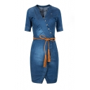 New Arrival Oblique Single Breasted Half Sleeve Belt Waist Wrap Midi Denim Dress